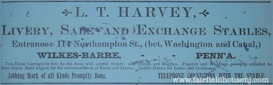 Blotter, L. T. Harvey Livery Stable Ad