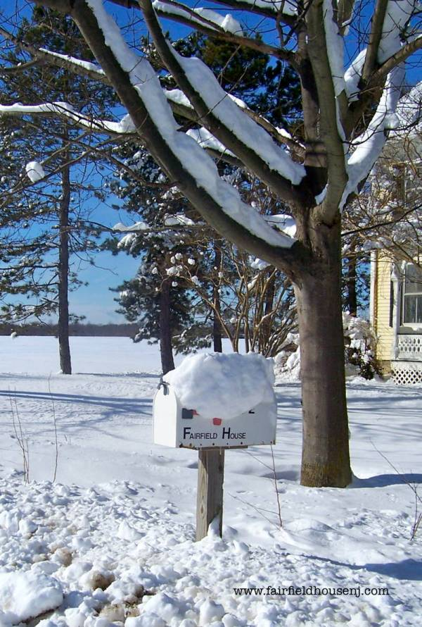 Fairfield House mailbox in the snow