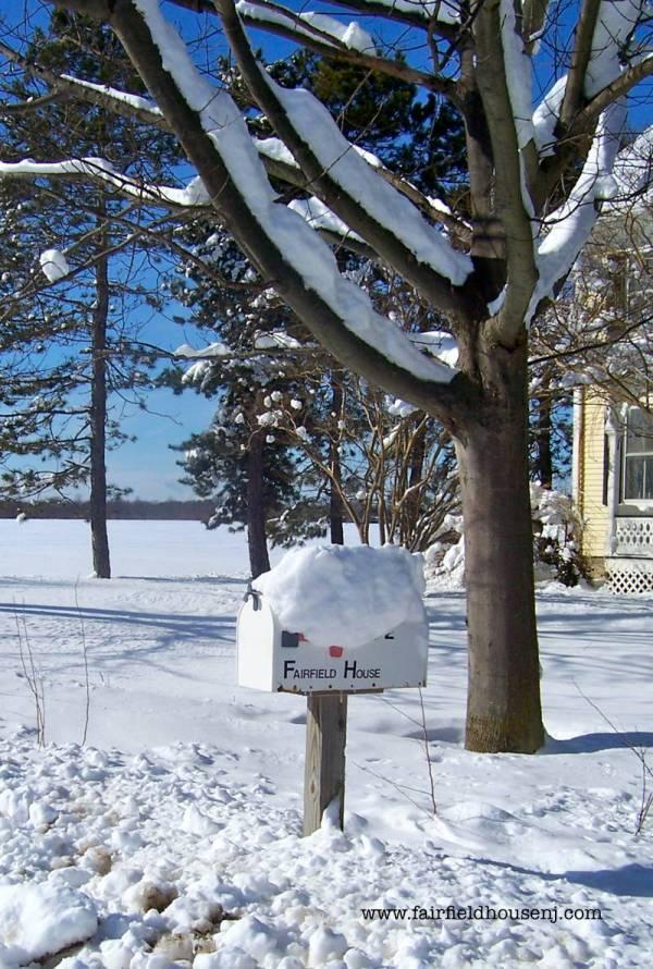 Fairfield House mailbox in the snow