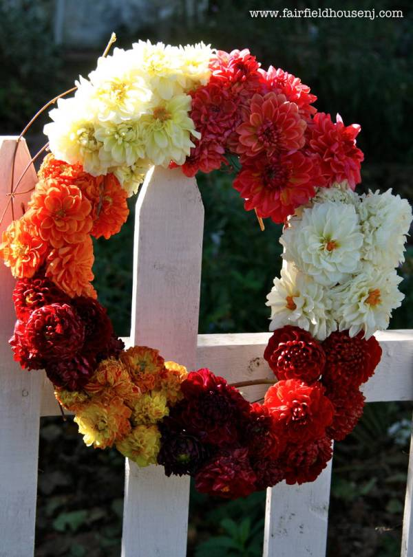 wreath on fence